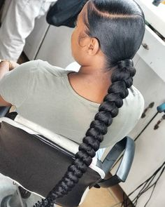 Hair Ponytail Styles, Black Girl Braided Hairstyles, Braided Ponytail Hairstyles, Sleek Ponytail, African Braids Hairstyles, Baddie Hairstyles, Black Women Hairstyles, Curly Hair Styles, Cute Ponytails