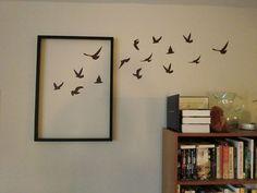 Quadro pássaros em fuga