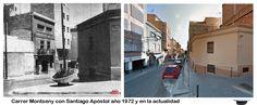 Carrer Montseny con Santiago Apóstol año 1972 y en la actualidad