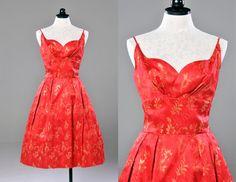 Vintage 60s Red Silk Brocade Party Dress