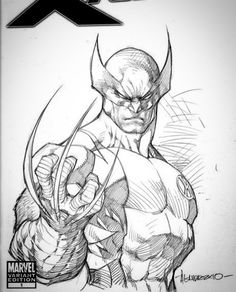 Marvel Drawing Wolverine by Ale Garza - Superhero Sketches, Drawing Superheroes, Marvel Drawings, Cartoon Drawings, Art Drawings, Comic Drawing, Drawing Sketches, Comic Books Art, Comic Art