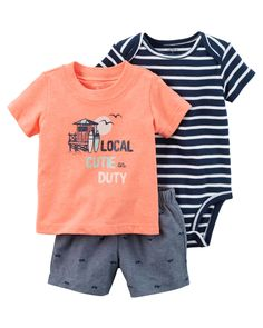 Baby Boy 3-Piece Little Short Set Complete with super cool screen prints and coordinating shorts, this soft 3-piece set is perfect for spring.