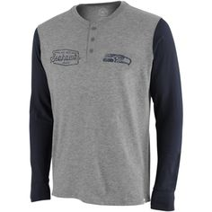 Men's '47 Brand Gray/Navy Blue Seattle Seahawks Tri-State Henley