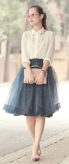 Smoky blue tulle skirt and cream button down shirt