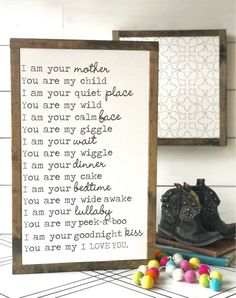 I am your mother framed wood sign Mother's Day baby