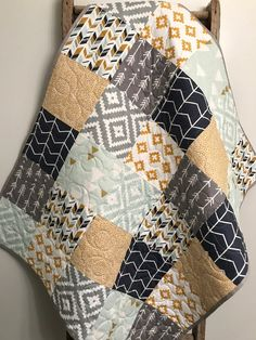 Your place to buy and sell all things handmade - Geometric Baby Quilt, Gender Neutral Bedding, Aztec Baby Quilt, Navy Mint Gold Gray Grey Baby Quilt - Neutral Baby Quilt, Neutral Bedding, Gender Neutral Baby, Nursery Neutral, Neutral Nurseries, Floral Bedding, White Bedding, Aztec Nursery, Owl Nursery