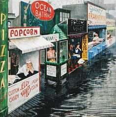 Rain on the Boardwalk, art by George Hughes. Detail from Saturday Evening Post cover July 2, 1955.