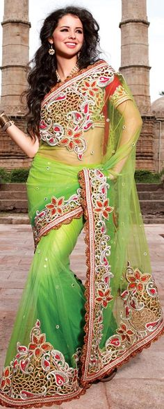 $133.27 Green Net Saree 18351 With Unstitched Blouse