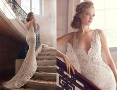 Style * LZ3501 *  Bridal Gowns, Wedding Dresses  Spring 2015 Collection  by Lazaro  Shown Ivory/Silver alencon lace trumpet bridal gown, V-neckline with beaded necklace at back, jeweled appliques at natural waist, chapel train (ad shot)