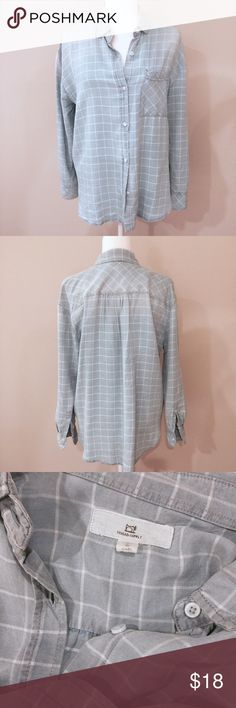 'Thread & Supply' Light Blue Check Shirt Blue and white check boyfriend/ relaxed fit woven. Long sleeve with roll tab cuffs. 100% lyocell. Only worn once. Tops Button Down Shirts