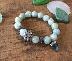 Aquamarine and Labradorite Pave Bracelet Boho Glam by TPSDesigns