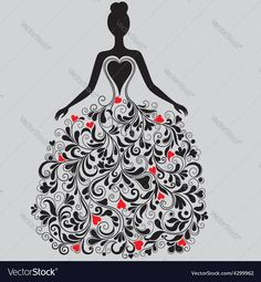 Vector silhouette of beautiful dress with red hearts. Download a Free Preview or High Quality Adobe Illustrator Ai, EPS, PDF and High Resolution JPEG versions.