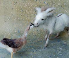 White Needle Felted Donkey Nativity by SarafinaFiberArt on Etsy