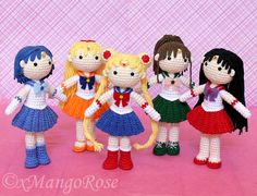 Crochet Pattern for all 5 Sailor Scout Dolls, including Sailor Moon, Mars, Mercury, Jupiter and Venus.