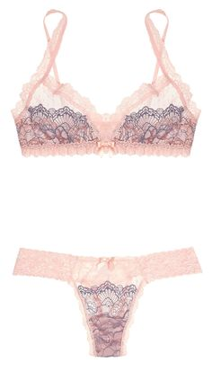 NET-A-PORTER.COM: HANKY PANKY, Emma stretch-tulle and lace soft-cup triangle bra and Emma stretch-tulle and lace thong. Designer colour: Peachy Pink with lavender lace