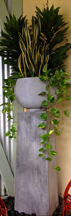 Neutral fiber stone pedestal an pot matched with bright greens and black river rocks