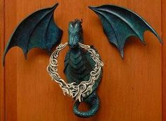 Dragon Umbrellas Gifts Wall Plaque Door Knocker Dice Seal at Dragons Fire Online Shop Door Knockers Unique, Door Knobs And Knockers, Cool Doors, Unique Doors, Dragons, Celtic Dragon, Door Furniture, Gothic Home Decor, Gothic House