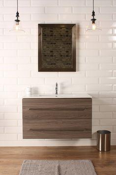 "Naos 36"" Grey Oak, Modern Wall Mount Bathroom Vanity, Featheredge - The Vanity Store Canada - 36"" - 1"