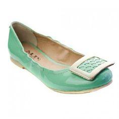 MUPS Mint Patent Silver Buckle Ballet Flat Shoes Little Girls 11-3 - SophiasStyle.com
