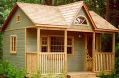 Cabin style shed perfect for in-law arrangement, relatives, guest house, home office or any hobby studio. via Summerwood.