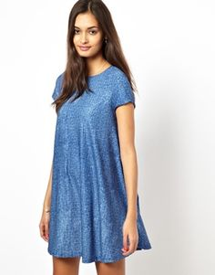 Glamorous Swing Dress in Denim Blue