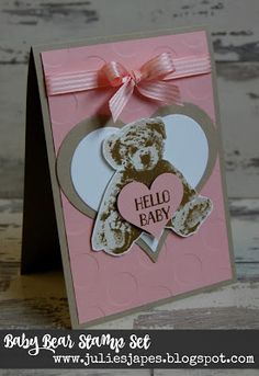 Julie Kettlewell - Stampin Up UK Independent Demonstrator - Order products 24/7: Baby Card with Baby Bear
