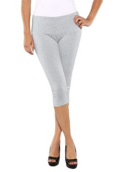 Zerdocean Women's Plus Size Modal Capri Leggings Hem Lace Trim ...