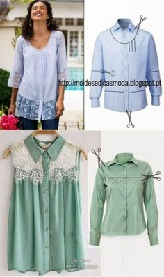 Best diy clothes refashion upcycling remake men shirts ideas ideas clothes t shirts Best Picture For sewing projects vintage For Your Taste You are looking for something, and it is going to Diy Fashion, Fashion Outfits, Hijab Fashion, Diy Clothes Refashion, Men's Shirt Refashion, Upcycle Shirts, Diy Kleidung, Diy Vetement, Refashioning