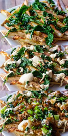 Crispy baked fries topped off a creamy and tangy cheese sauce and rich mushroom gravy. Made with lots of greens for good measure! #Vegan
