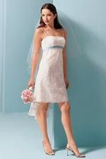 This wonderful Wedding Dresses  Knee-Length With Spaghetti Neckline White Little Wedding Dress  This beatiful cheap wedding dresses use the Satin material, the front Spaghetti Straps neckline compose this elegant and charming dress. Short outline match with your unique and sexy appeal.Dressaler.com offer you the best Little White Wedding Dresses There must be one for you. - $111.99
