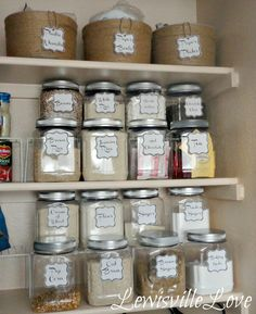jute covered icecream buckets and reused food containers with painted lids and labels.