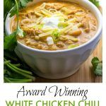 Its easy to cook a big pot of this award winning white chicken chili, and its the absolute BEST! Tender chicken, chilies, white beans, spices and a few more goodies in this winning white chicken chili recipe! Top with sour cream, cheese, scallions, a drizzle of your favorite hot sauce. Its makes a lot of chili, but it freezes really well! #chicken #chili #recipe #ChickenChili