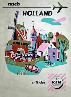 KLM Poster / Nach Holland mit der KLM / 1950s-1960s