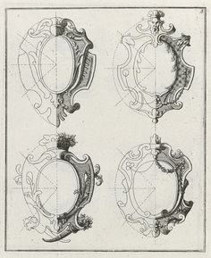 Vier rocaille schilden, anonymous, after Johann Daniel Preissler, 1704 - 1737 - Rijksmuseum Baroque Frame, Ornament Drawing, Carving Designs, Detailed Drawings, Motif Floral, Gothic Architecture, Acanthus, Coat Of Arms, Wood Carving