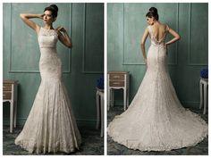 Bateau Neckline V-back Lace Wedding Dress