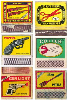 """Vintage Indian Matchbook Labels""  by Maria Popova.     Collects more than 500 striking Indian matchbox labels gathered by Shahid Datawala over the course of several decades, at once reminiscent of vintage Soviet propaganda in their visual language and of mid-century American travel posters in their vibrant colors, and yet entirely singular and culturally distinctive in overall sensibility."