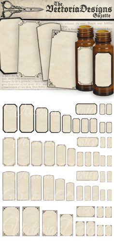 Blank Mini Apothecary Labels - a full sheet of vintage style blank mini apothecary labels to write on. Put them on mini bottles for jewelry and trinkets.  What you actually want to know: ° 52 high quality 300 dpi images on one 8.5 x 11 sheet, for easy printing ° watermark will be removed ° JPG and PDF  Sizes (height) of each label: ° 2 inch - 1.75 inch - 1.50 inch - 1.25 inch - 1.00 inch - 0.75 inch  Heres an extended tutorial how to add text…