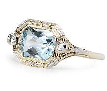 Vintage Aquamarine & Diamond Ring