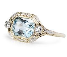 https://www.bkgjewelry.com/ruby-rings/255-18k-yellow-gold-diamond-ruby-solitaire-ring.html Vintage Aquamarine & Diamond Ring