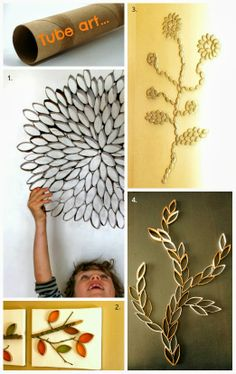 Upcycle: Leafy art from wrapping and paper-towel tubes