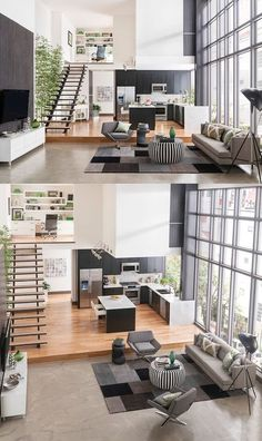 15 Amazing Interior Design Ideas For Modern Loft 15 Loft design is usually adopted by those who want to save more space in their tiny home by taking advantage of the empty space under the roof. It looks just like an attic room where we can design for r Loft Design, Deco Design, Design Case, Design Design, Duplex House Design, Design Logos, Graphic Design, Modern Interior Design, Interior Architecture