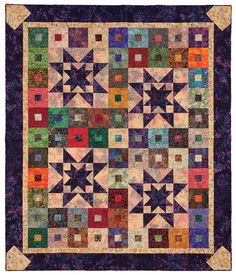 Purple Daze quilt from the book Quilt Batik!  No a Lemoyne star, but I would love to make something like this and replace the batik ohio with a Lemoyne star