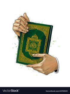 Man hands holds holy book of koran from splash of Vector Image , Quran Wallpaper, Islamic Wallpaper, Islamic Art Canvas, Muslim Book, New Background Images, Vector Background, Ramadan Poster, Desenho Pop Art, Muslim Holidays