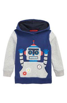 116fb33f6e7 Mini Boden Robot Appliqué Hoodie (Toddler Boys