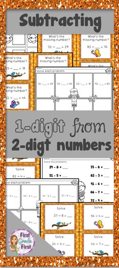 math worksheet : subtracting one digit numbers from two digit numbers  worksheets : Subtracting 1 Digit From 2 Digit Numbers Worksheets