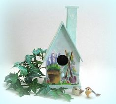 Wood Birdhouse Decor Wood Bird House Hand Painted Birdhouse Green Birdhouse Flower Birdhouse Decorative Birdhouse Wooden Unique Country by afloralaffair on Etsy