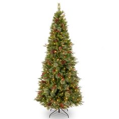 Colonial 7.5' Green Slim Artificial Christmas Tree with 400 Clear Lights and Stand