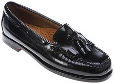 $70, Black Leather Tassel Loafers: Bass Washington. Sold by shoes.com. Click for more info: https://lookastic.com/women/shop_items/269466/redirect