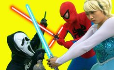 Reaper vs Spiderman vs Elsa sword battle Pinks SpiderGirl Fun Superheroe...