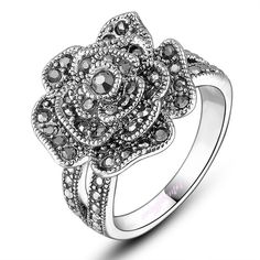 Retro black rose ring lady marcasite ring fashion jewelry hot sale jewelry R807 #Cocktail